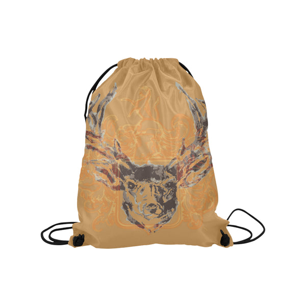 Vintage design draw string bag with mustard background color and a stags head with antlers on the front, can be worn over one shoulder or as a rucksack