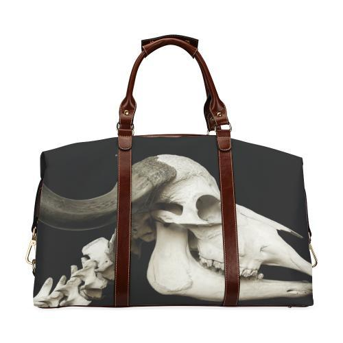 Flight Bag Brown and Black with eye catching Skull design. Large interior compartment with additional smaller compartment