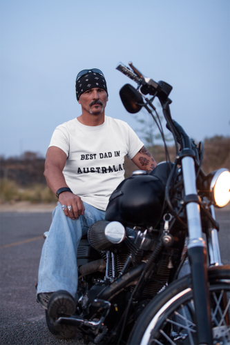 Man sitting on Motor Bike wearing a White TShirt with Best Dad In Australia Slogan for Fathers Day on the front-Design & Personalise your own Shirts online free by clicking on the link in the description