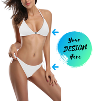 Woman wearing a White Custom Bikini-Design your own Personalised swimwear free using our Custom Bikini Maker Tool