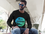 Man wearing a Black Long Sleeve T-Shirt with Your Design Here on the Front of the Shirt. Personalise with your own Designs Online