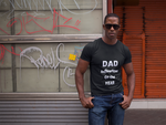 Man wearing a Black TShirt with Dad Influencer of The Year on the front in white writing-Personalise your own custom shirt by clicking on the link in the description