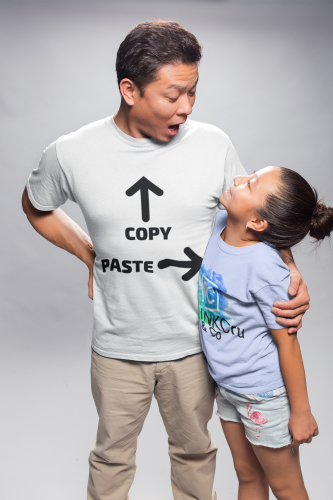 Man looking at his daughter wearing a White T-Shirt with Copy & Paste and arrows pointing at the dad and the daughter, fathers day shirt. Design your own personalised custom dad shirts by clicking on the link in the description