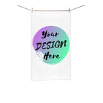 White Custom Towel with Your Design Here Printed on the front. Personalise your own Towel Online