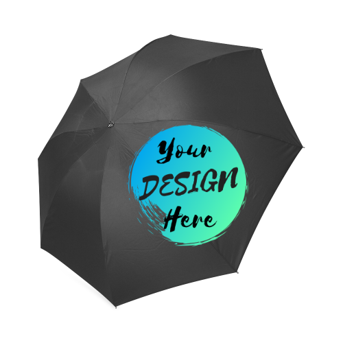 Black Semi-Automatic Custom Umbrella with Your Design Here on front. Personalise your own Custom Umbrellas online