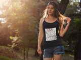 Girl wearing a Feminist Top with the empowerment slogan design saying Yes Women Can on front-Design your own Custom shirts by clicking in the description below