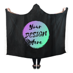 Black Sherpa Blanket with Your Design Here on the front. Personalize your own Hooded Sherpa Blanket online