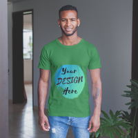 Man wearing a Green Tshirt with Your Design Here on the front. Personalise with your own designs online free