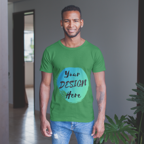 Green Custom Tshirt with Your Design Here on the front. Personalise with your own designs online free