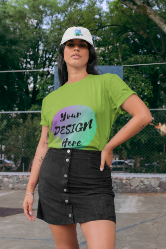 Woman wearing a Green T-Shirt with Your Design Here on the front. Personalise with your own designs online free