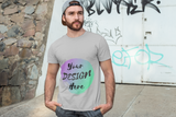 Man wearing a Grey Short Sleeve T-Shirt with Your Design Here on the front. Personalise with your own designs online Free