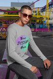 Man wearing a Grey Long Sleeve T-Shirt with Your Design Here on the Front. Personalise with your own Designs online Free