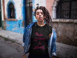 Woman wearing a Black Custom TShirt with Make yourself a priority slogan on the front in Maroon Writing-Personalise your own custom shirt by clicking on the link in the description