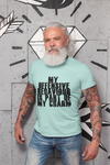 Man wearing a  Green TShirt with My Offensive Behavior Is Part Of My Charm Quote on the front-Personalize your own custom tee by clicking the link in the description