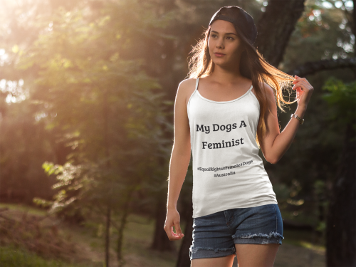 Girl wearing a White Feminist Top with My Dogs A Feminist Quote on the front-Personalise your own TShirts by clicking in the link in the description