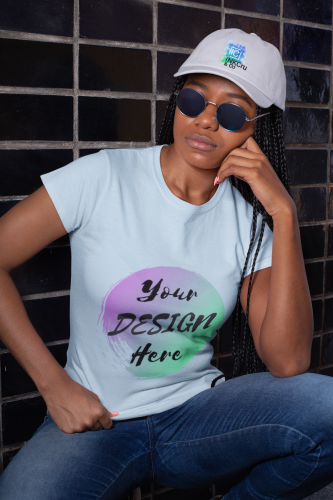 Woman wearing a Pale Blue Custom Shirt with Your Design Here on the front. Personalise with your own designs online free