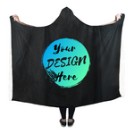Personalised Sherpa Blanket with Hood saying Your Design Here on the back. Create your personalized Blanket Online