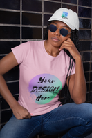 Woman wearing a Pink T-Shirt with Your Design Here on the front. Personalise with your own designs online free