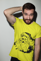 Man wearing a Yellow Christmas, Xmas, Santa Claus Design T-Shirt with a Black Design Santa Clause on the front-Design your own Christmas Shirt Free Online by clicking on the link in the description