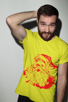 Man wearing a yellow Christmas, Xmas, Santa Claus Design T-Shirt with a Red Santa Clause on the front-Design your own Christmas Shirt Free Online by clicking on the link in the description