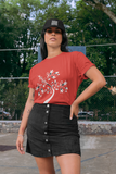 Woman wearing a Red TShirt with a Tree of Life design on the front in White-Personalise your own Custom T-Shirts by clicking on the link in the description