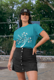 Woman wearing a Sea Green TShirt with a White Tree of Life design on the front-Personalise your own Custom T-Shirts by clicking on the link in the description