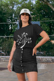 Woman wearing a Black TShirt with a White Tree of Life design on the front-Personalise your own Custom T-Shirts by clicking on the link in the description