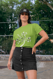 Woman wearing a Green TShirt with a white Tree of Life design on the front-Personalise your own Custom T-Shirts by clicking on the link in the description