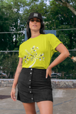 Woman wearing a Yellow TShirt with a White Tree of Life design on the front-Personalise your own Custom T-Shirts by clicking on the link in the description