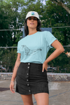 Woman wearing a Light Blue Custom Shirt featuring an Artist Humpback Whale Sketch on the front-Personalise your own Custom TShirt by clicking on the link in the description