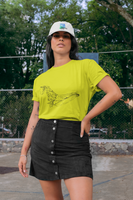 Woman wearing a Yellow Custom Shirt featuring an Artist Humpback Whale Sketch on the front-Personalise your own Custom TShirt by clicking on the link in the description