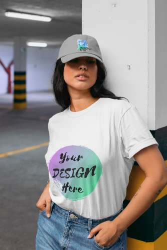 Woman wearing a White T-Shirt with Your Design Here on the front. Personalise with your own designs online free