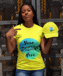 Woman wearing a Yellow T-Shirt with Your Design Here on the front. Personalise with your own designs online free