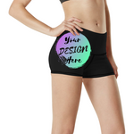 Woman wearing Black Custom Yoga Shorts with Your Design Here on the front. Personalise your own Fitness Shorts Online
