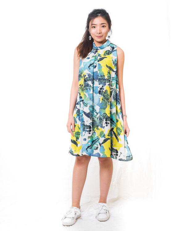 Stacie Sleeveless Chiffon Printed Dress