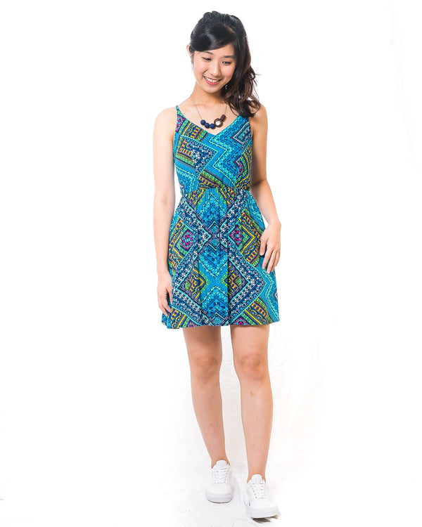 Chalize Spagetti Green Printed Short Dress