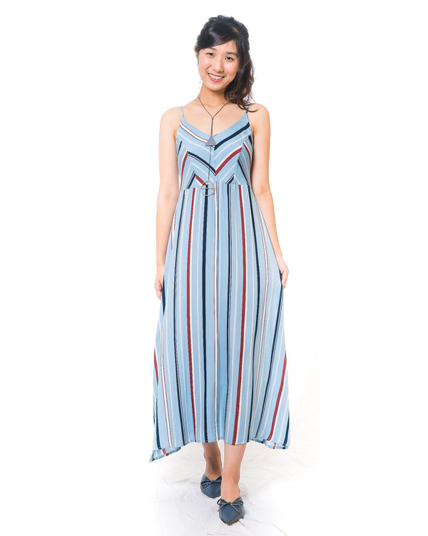 Chalize Spagetti Blue Striped Dress