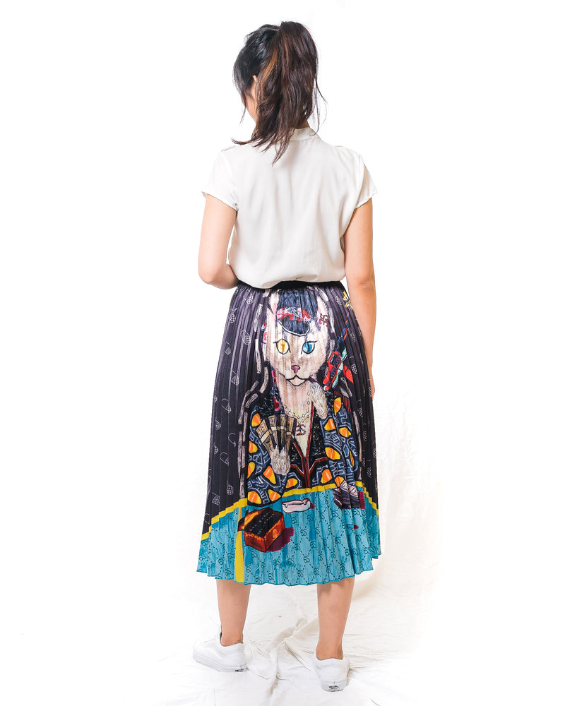 Queen of Cats Midi Pleated Skirt
