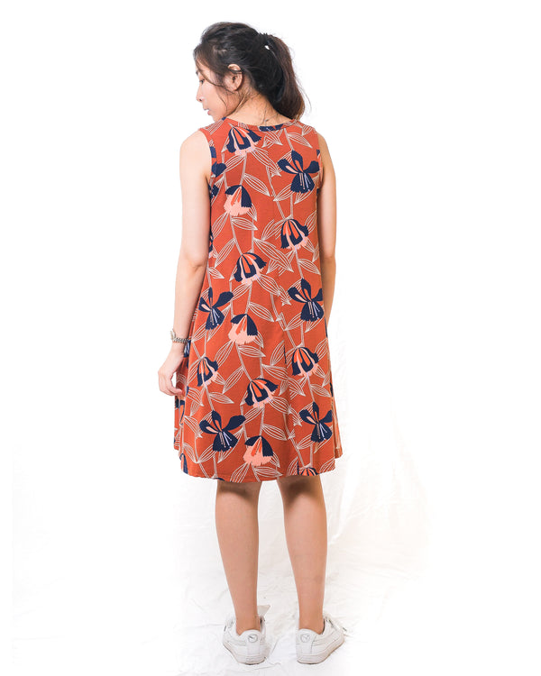 Sunny Rust Floral Sun Dress