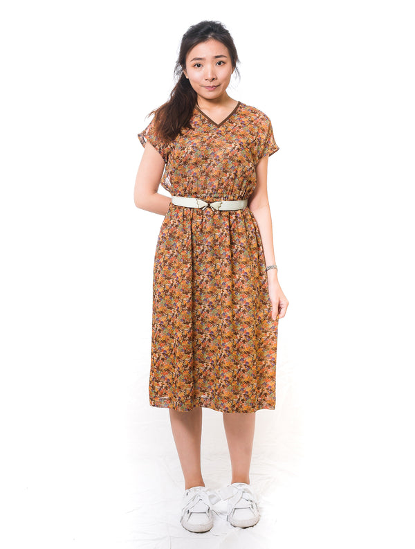 V-neck Orange Floral Vintage Dress