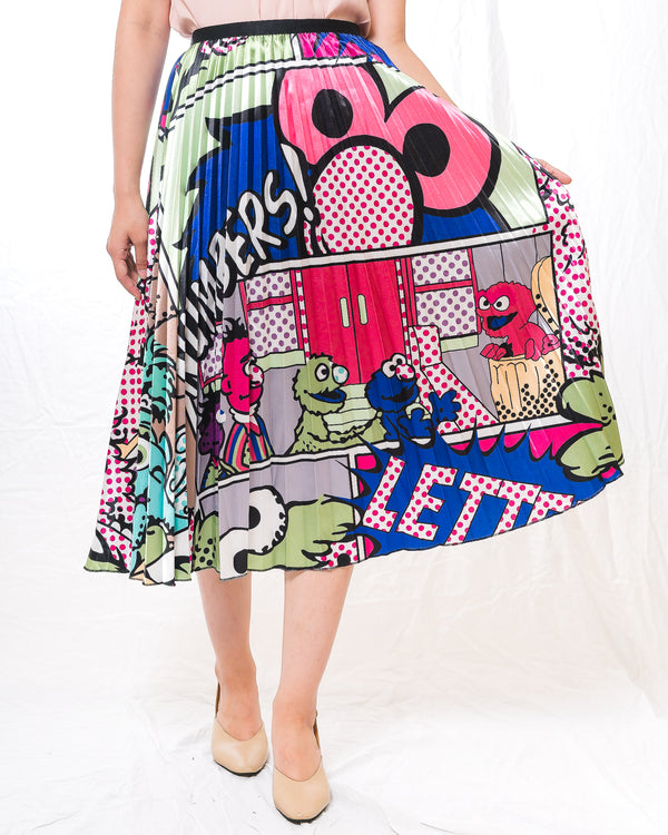Cartoon-Print Midi Pleated Skirt