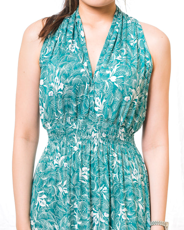 Sunny Green Floral Halter Dress