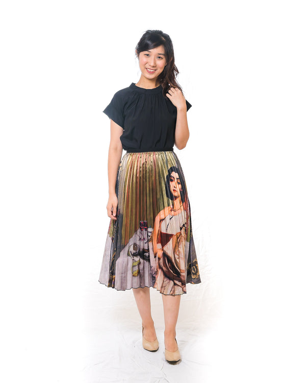 Classic European Lady Midi Pleated Skirt
