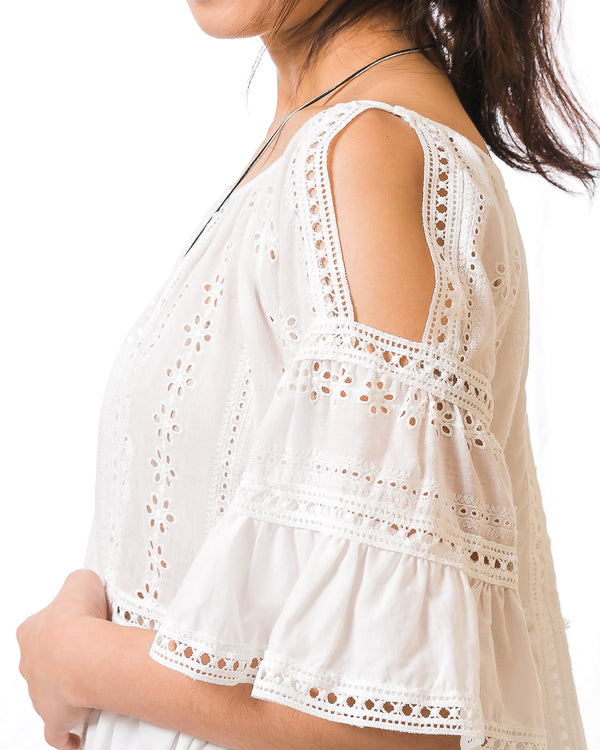 Kala White Eyelet-Lace Cold-Shoulder Top