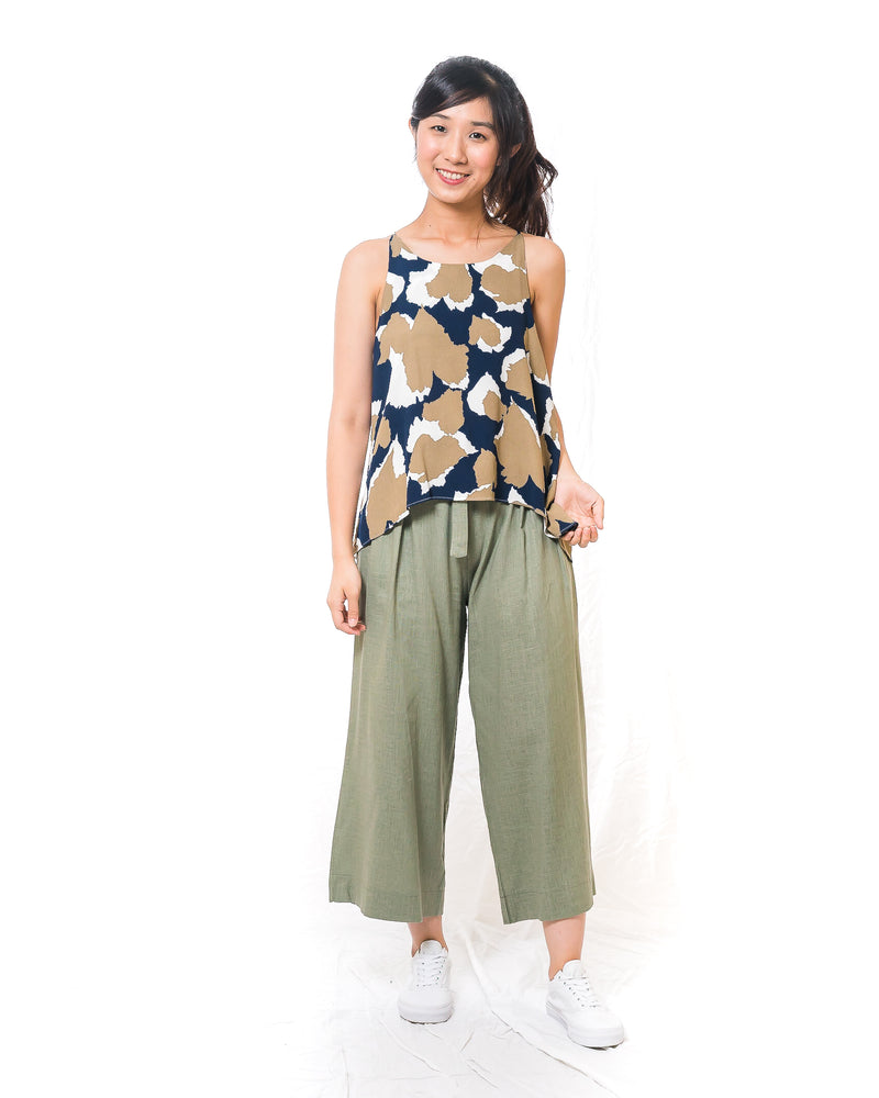 Kaylyn Green Flair Linen Pants