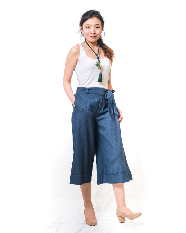 Cath Cotton Denim Long Culottes