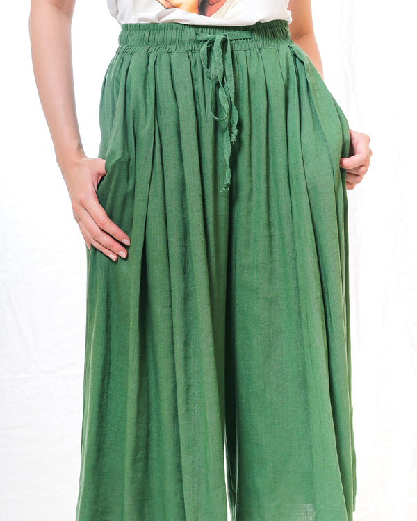 Jackie Leaf- Green Linen Culottess