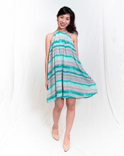 Carrie Halter Turquoise-Striped Dress
