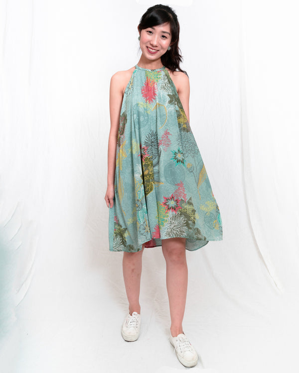 Carrie Garden-Print Halter Dress