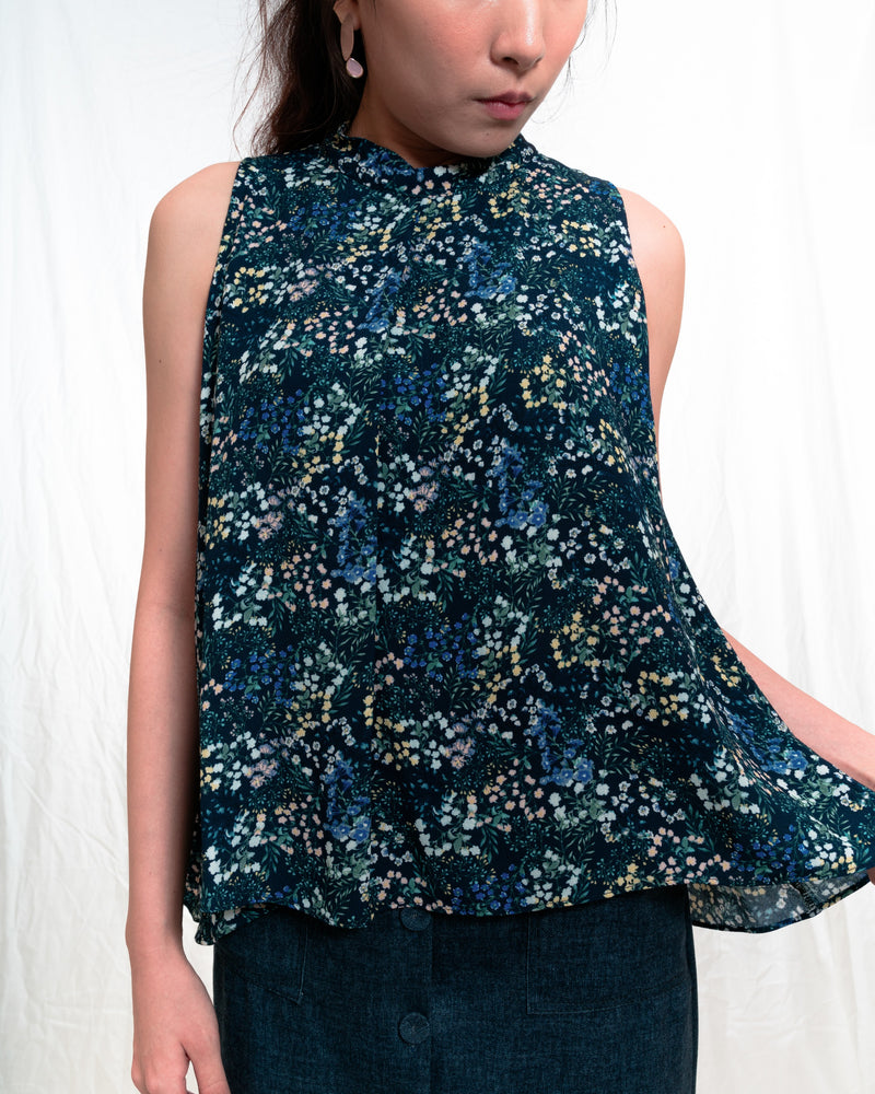 Stacie Blue Floral Top